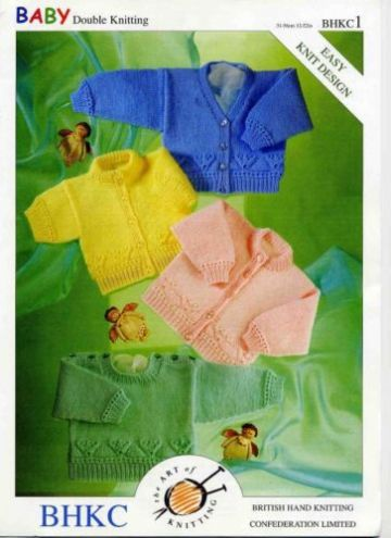 DK Baby Cardigans & Sweaters Easy Knitting Pattern (Prem - 2 years). UKHKA 1